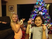 Girls enjoyed stringing popcorn Copyright by Holly Hedman